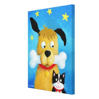 Dog with Bone & Cat Canvas Painting Canvas Print
