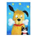 Dog with Bone & Cat Canvas Painting Gallerij Wrapped Canvas