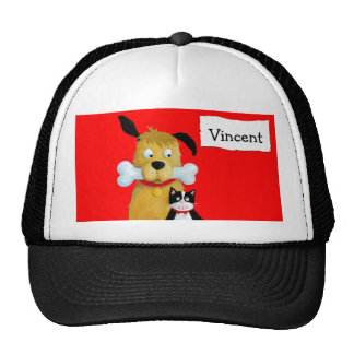 Dog with Bone & Cat - Cap Trucker Hat