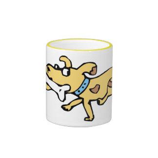 Dog with Bone Ringer Coffee Mug