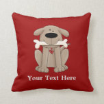 Dog With Bone (Personalized) Pillow