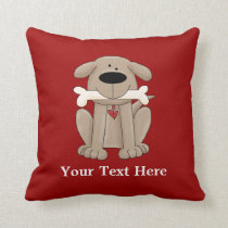 Dog With Bone (Personalized) Throw Pillow