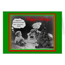 Dog With Chicken and Kid Christmas Card Funny