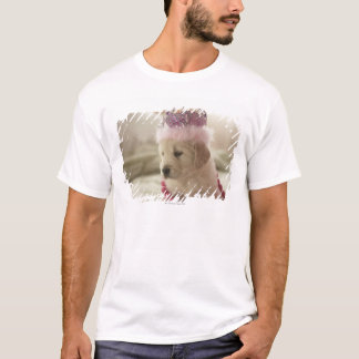 Dog with decorations on bed T-Shirt