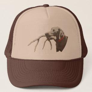 71eb1218851 Dog with deer antler trucker hat