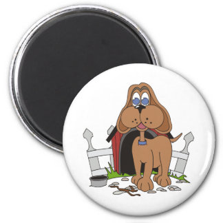 Dog with Doghouse 2 Inch Round Magnet