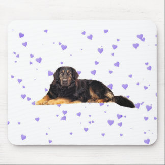 Dog with Falling purple Hearts Mouse Pad