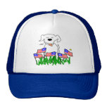 Dog with Flags July 4th Gifts Trucker Hat