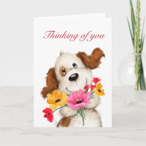 Dog with flowers, thinking of you card