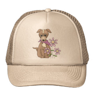 Dog with Flowers Trucker Hat
