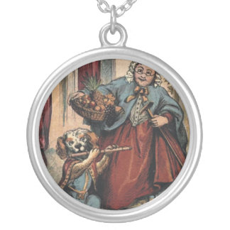 Dog with flute and old lady round pendant necklace