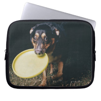 Dog With Frisbee in Mouth Computer Sleeve
