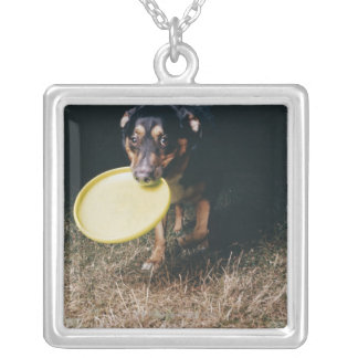 Dog With Frisbee in Mouth Silver Plated Necklace