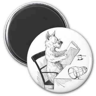 Dog With Glasses Reads the Paper 2 Inch Round Magnet