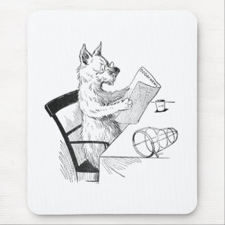 Dog With Glasses Reads the Paper Mouse Pad