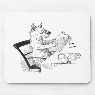 Dog With Glasses Reads the Paper Mouse Pads
