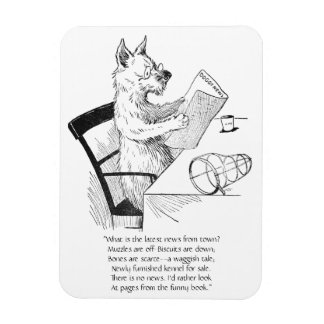 Dog With Glasses Reads the Paper Rectangular Photo Magnet