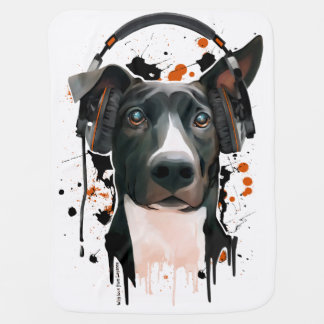 Dog with headphones. music lover swaddle blanket