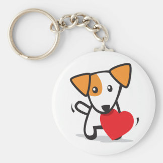 dog with heart basic round button keychain