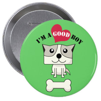 Dog with heart Button4 Pinback Button