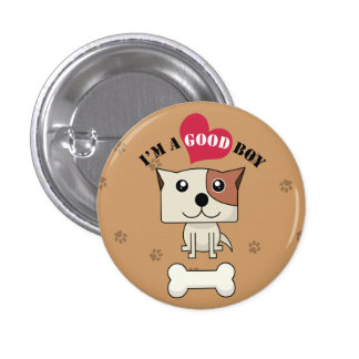 Dog with heart Button8 Pinback Button