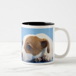 Dog with heart Two-Tone coffee mug