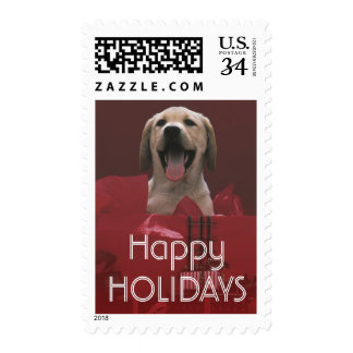Dog with holiday gifts postage