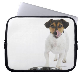 Dog with Large Bowl Laptop Sleeve