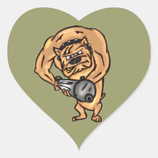Dog with Machine Gun Heart Sticker