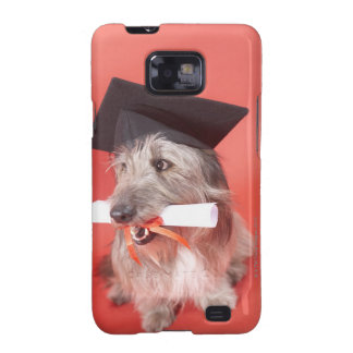 Dog with mortarboard and diploma samsung galaxy case