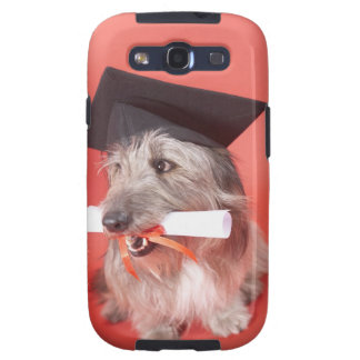 Dog with mortarboard and diploma galaxy SIII cases