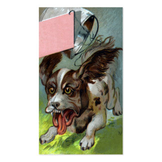 Dog with Pail Tied to Tail Victorian Trade Card