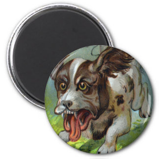 Dog with Pail Tied to Tail Victorian Trade Card 2 Inch Round Magnet