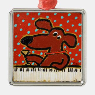 dog with piano and martini ornament