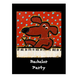 dog with piano, Bachelor Party postcard invite