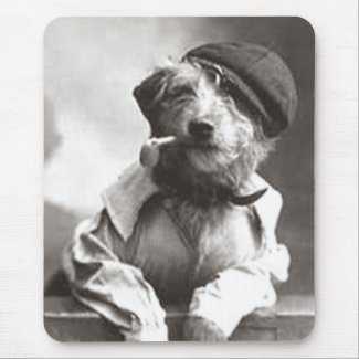 Dog With Pipe and Hat mousepad
