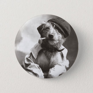 Dog With Pipe and Hat Pinback Button