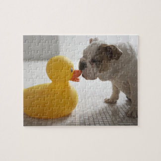 Dog with plastic duck jigsaw puzzle
