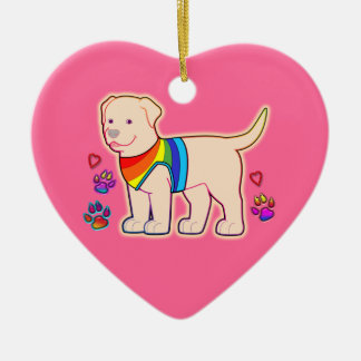 Dog with Rainbow Vest Christmas Tree Ornament