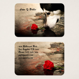Dog with Red Rose Business Card