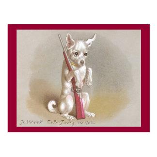 Dog with Rifle Victorian Christmas Postcard