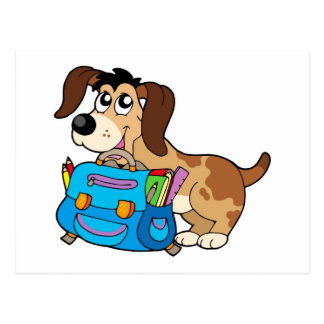 Dog with school bag postcard