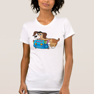 Dog with school bag tee shirt
