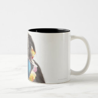 Dog with sunglasses and parfait Two-Tone coffee mug