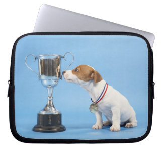Dog with trophy laptop sleeve