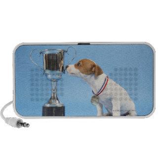 Dog with trophy notebook speaker