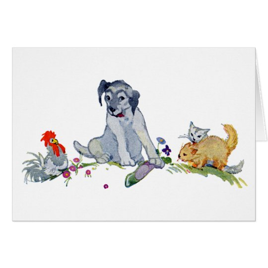Dog with Two Kittens, Hen and Shoe Card