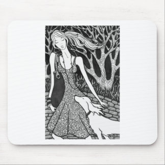 dog, woman, love, friendship , caring, affection , mouse pad
