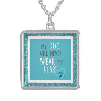 Dog Won't Break Heart Med Sterling Silver Necklace