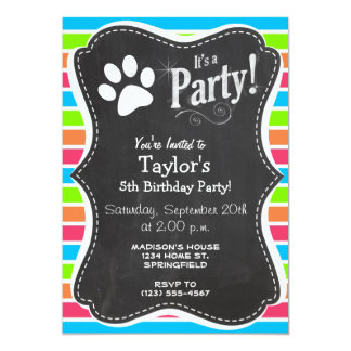 Dog, Woof; Neon Orange Pink Blue Green Stripes Card